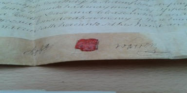 Fig 4.3: Robert Warren's Seal and Signature 1770.[55]