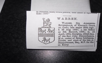 Fig 4.5 The Warren Family Crest.[64]