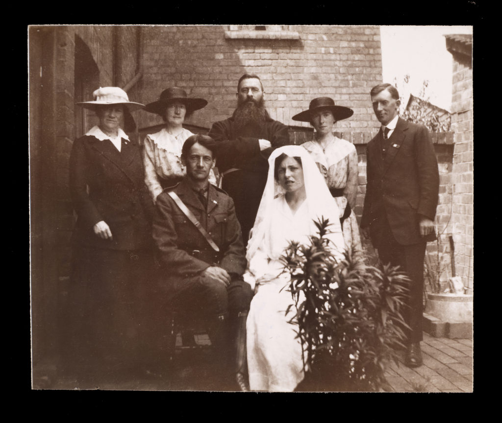 Front: Terence MacSwiney and his wife Muriel (née Murphy) Back (left to right): Mary MacSwiney, Annie MacSwiney, Fr Augustine Hayden OFM (Capuchin friar), bridesmaid Geraldine O'Sullivan, best man Richard Mulcahy.